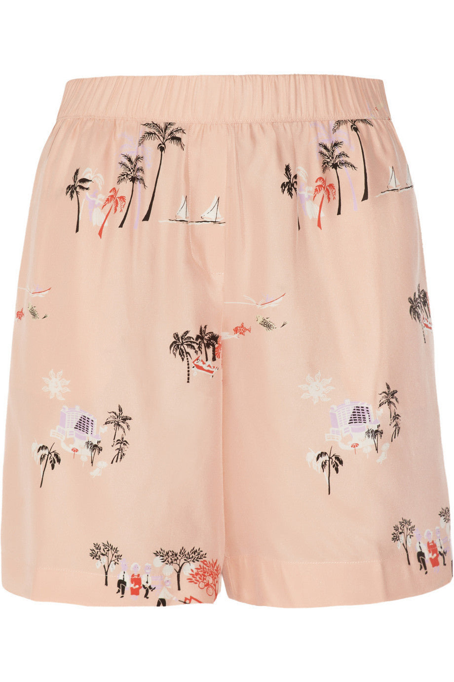 Vacationland printed silk shorts
