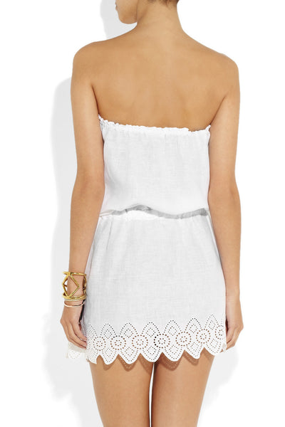 Soleil strapless linen mini dress