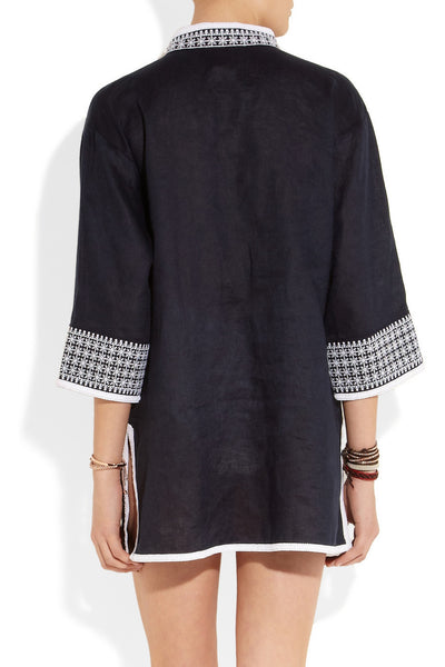 Pearl embroidered linen tunic