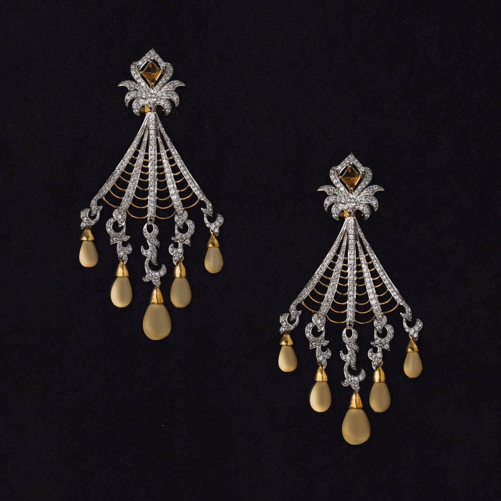 Gold plated silver and pearl chandelier earrings with citrine gold plated silver and pearl chandelier earrings with citrine jewels by samaya aloadofball Gallery