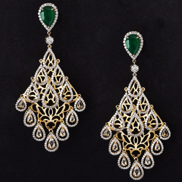 Chandeliers jewels by samaya jewels by samaya gold plated silver onyx topaz and cz chandelier earring mozeypictures Gallery