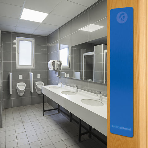 Blue antimicrobial push finger plate