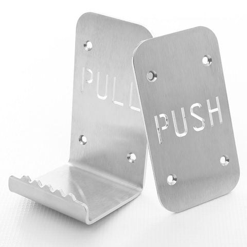hands free door opener and hands free push plate tooth grip