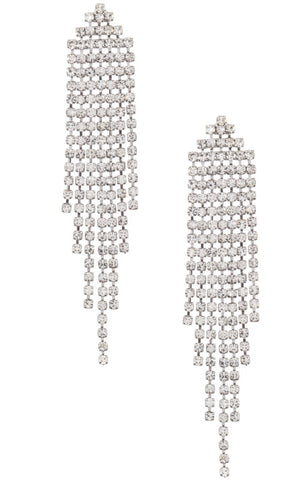 Clear rhinestone dangle fringe earring rhodium arrowhead fringe at 1lt2f.biz