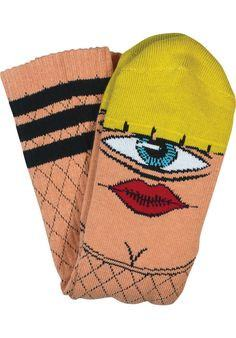 TOY MACHINE HOOKER SECT CREW SOCKS NAT/YEL - 1LT2F