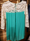 3/4 TURQUOISE SLEEVE BLOUSE WITH LACE DETAIL - 1LT2F