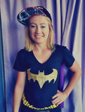 WOMEN'S BATGIRL LICENSED DC COMICS BLACK T-SHIRT WITH CAPE - 1LT2F