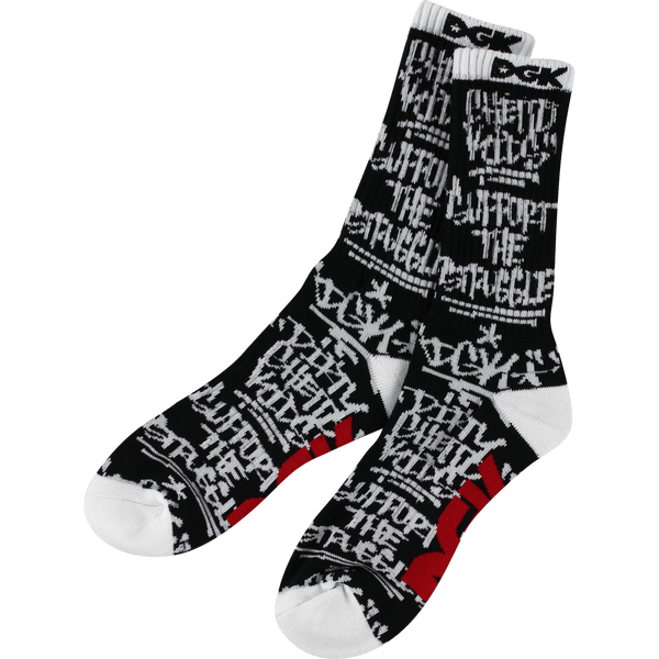 DGK GETTING UP CREW SOCKS BLK/WHT - 1LT2F