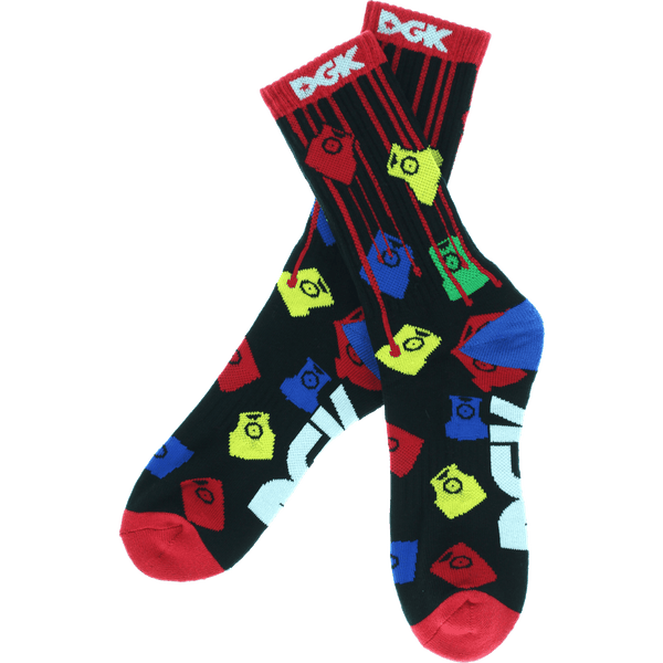 DGK PAINT TIPS CREW SOCKS BLACK/ASSORTED - 1LT2F