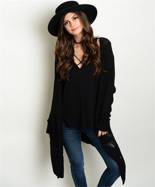 BLACK LONG KNIT CARDIGAN - 1LT2F