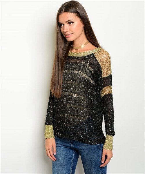 BLACK AND GOLD WITH SEQUINS KNITTED SHEER SWEATER - 1LT2F