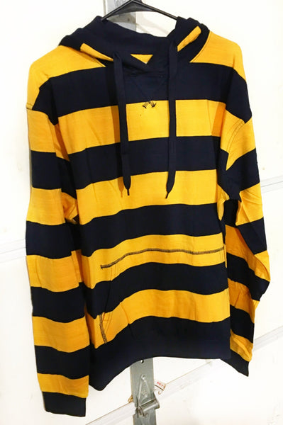 Focus Yellow & Navy Striped Long Sleeve Cotton Hooded Pullover Shirt - 1LT2F