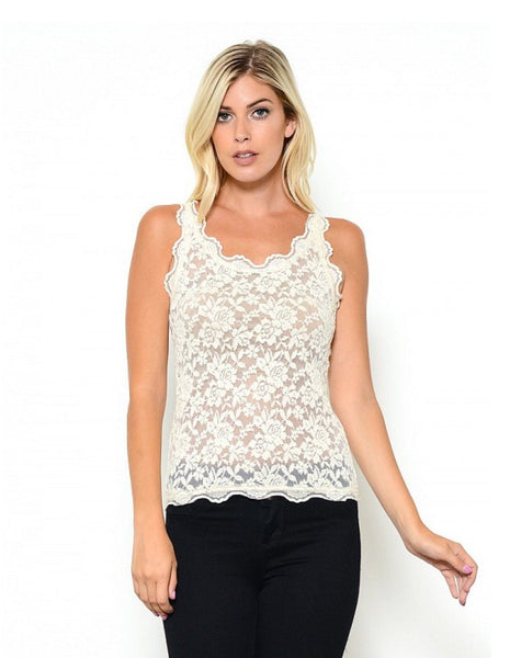 Sexy all over lace cami basic top for layering and adding feminine touches to any button down or deep v-neck top.