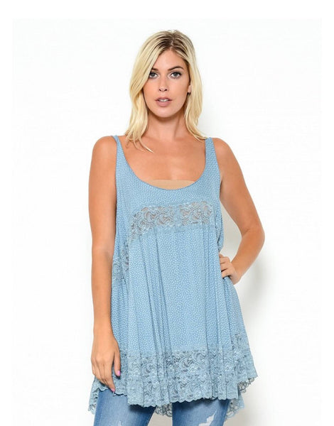 FLOWY LAYERED TUNIC WITH LACE TRIMMED HEM - 1LT2F