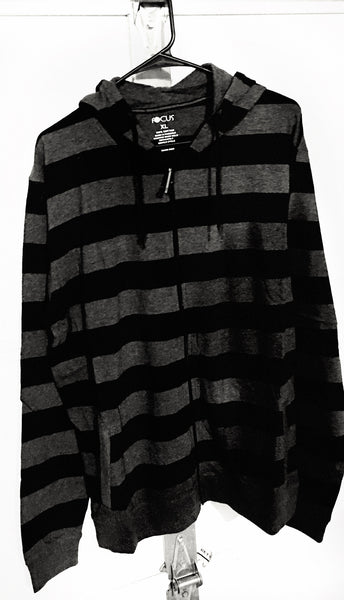 Focus Black & Dark Heather Grey Striped Long Sleeve Cotton Hooded Zip Up Shirt - 1LT2F