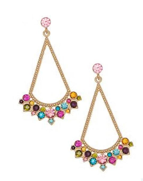FANCY TRIANGLE WITH STONE EARRING - 1LT2F