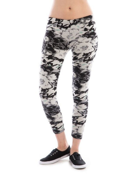 FLEECE LINED GREY AND BLACK LEGGING - 1LT2F