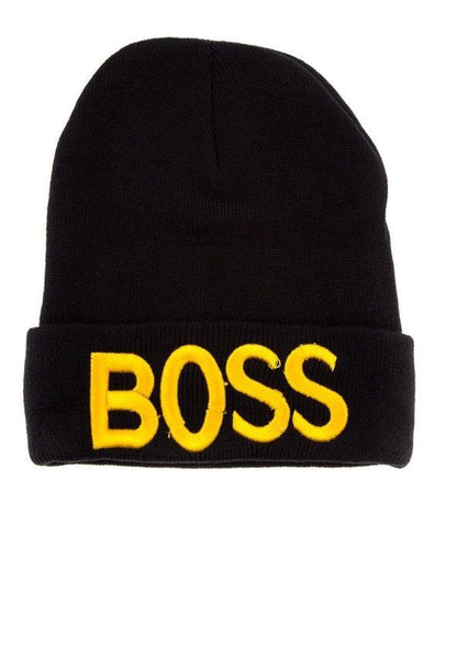 Black Embroidered BOSS Beanie - 1LT2F