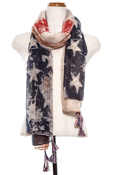 Splattered Patriotic Red White and Blue Scarf with Tasseled ends - 1LT2F