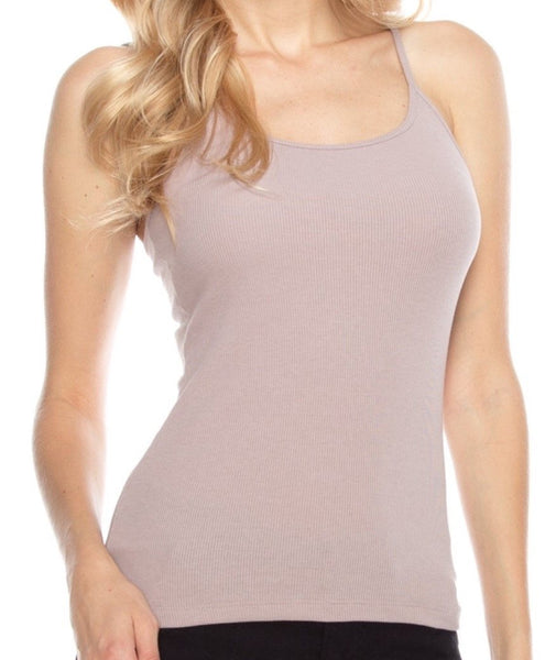 Sand Color Basic Solid Ribbed Cami with Spaghetti Straps - 1LT2F