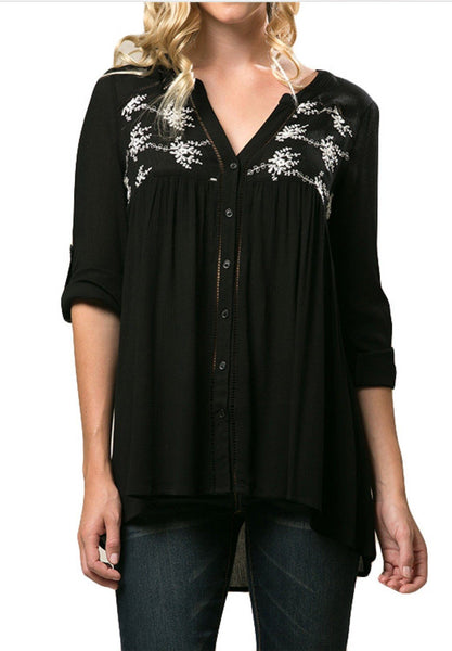 Black Solid Crinkle Button Down Shirt with Crochet Inset Detail - 1LT2F