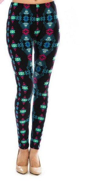 AZTEC PRINT MULTI COLOR LEGGINGS - 1LT2F