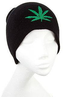 EMBROIDERED GREEN PLANT BEANIE - 1LT2F