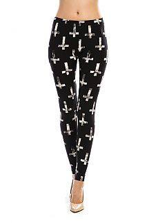 INVERTED CROSS BLACK LEGGINGS - 1LT2F