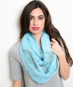 MINT AND PAISLEY PRINT INFINITY SCARF - 1LT2F