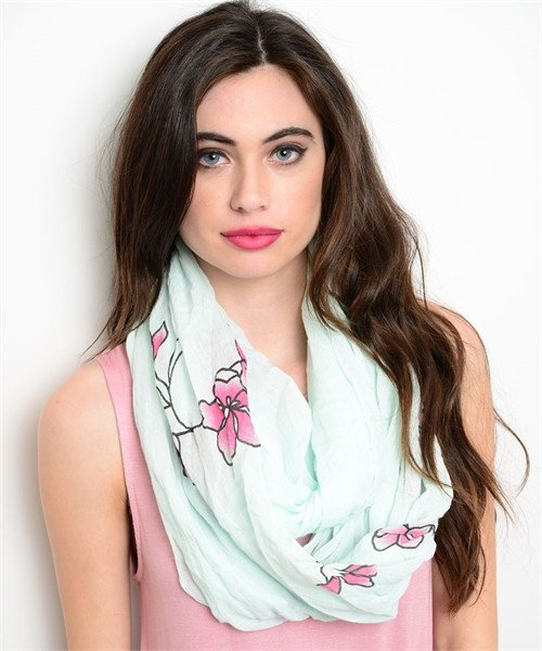Mint and Floral Print Infinity Scarf - 1LT2F