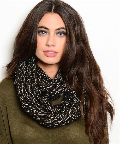 BLACK KNITTED INFINITY SCARF - 1LT2F