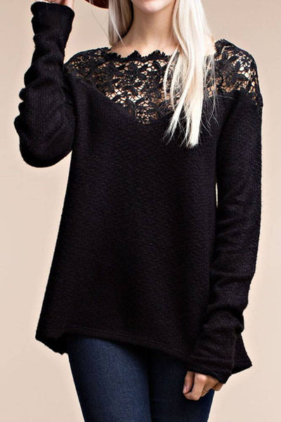 Long Sleeve Top Flower Lace Trim On Shoulder - 1LT2F