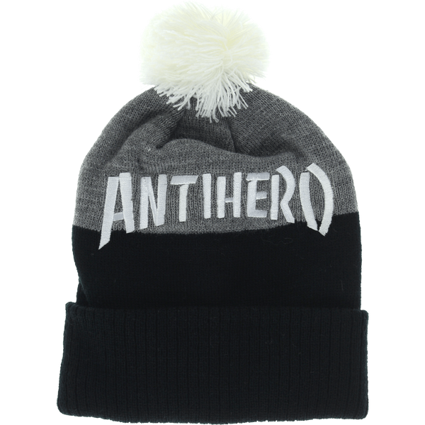 Beanie - ANTI HERO SKATE CO. POM BEANIE CHARCOAL HTHR/WHT