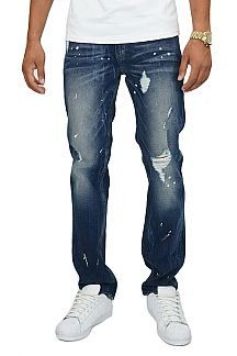 Destroyed Jeans With Paint Splatter On Cracked Tie Wash - 1LT2F