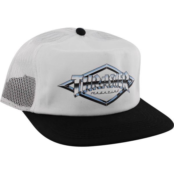 HATS - THRASHER DIAMOND EMBLEM MESH HAT ADJ-WHT