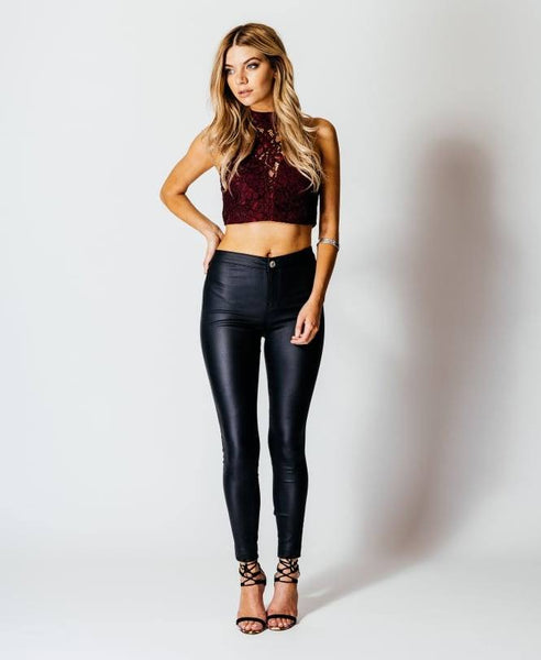 SEXY FAUX LEATHER SKINNY PANT - 1LT2F