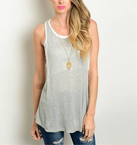 Sleeveless Layered Hunter Grey and White Flowy Top - 1LT2F