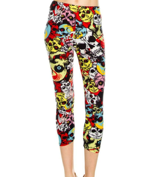 LEGGINGS - Scary Skull Print Capri Detail Leggings