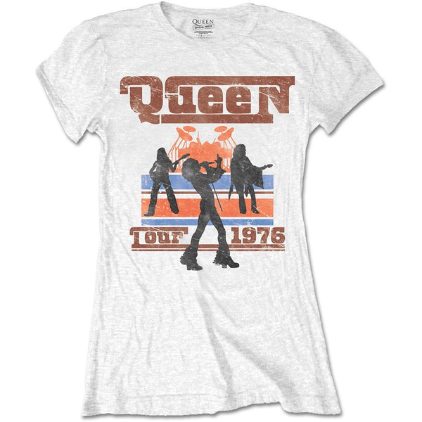 LICESENED T-SHIRT - QUEEN LADIES TEE: 1976 TOUR SILHOUETTES