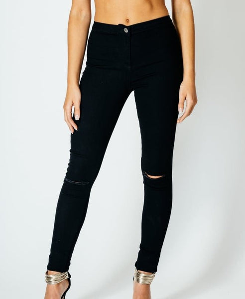 Luxury Denim High Waisted Black Skinny Jeans with Ripped Knees - 1LT2F