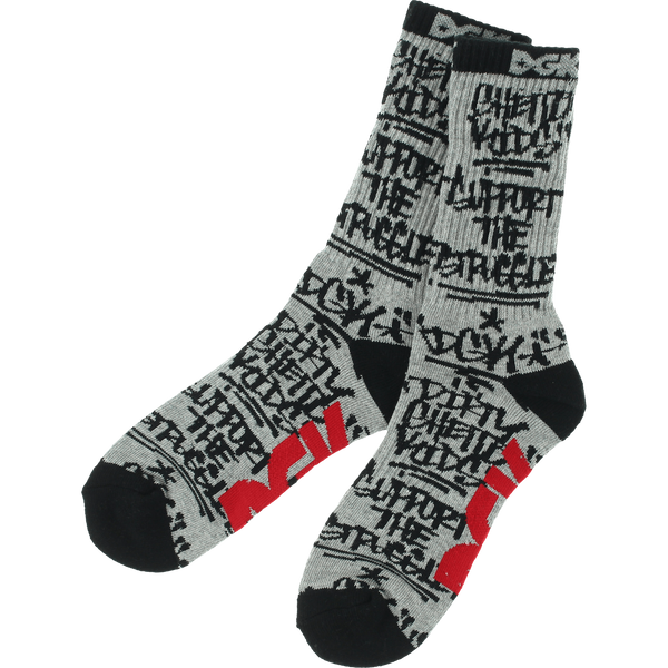 Socks - DGK GETTING UP CREW SOCKS ATH HEATHER/BLK