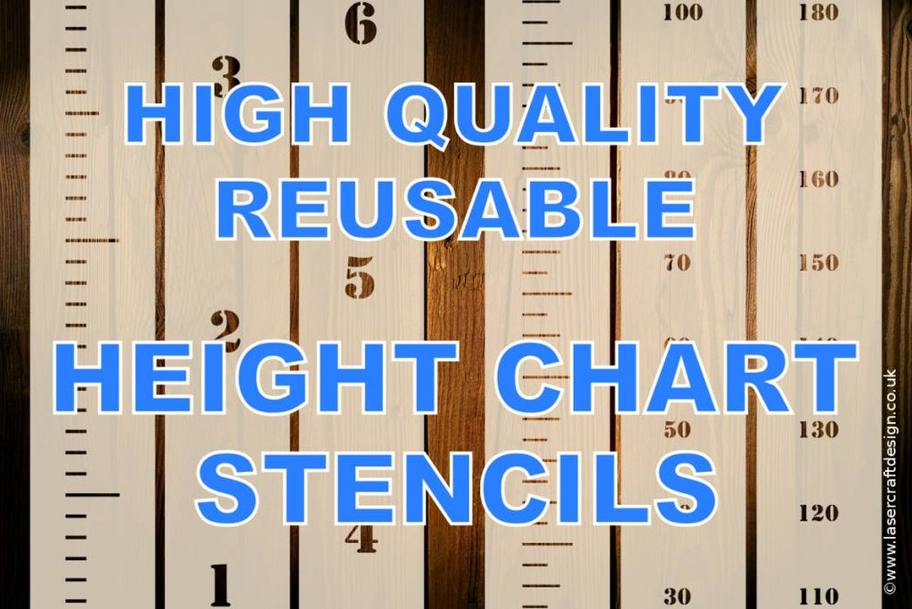 Height Growth Chart Stencils Inches And Feet Or Centimetres