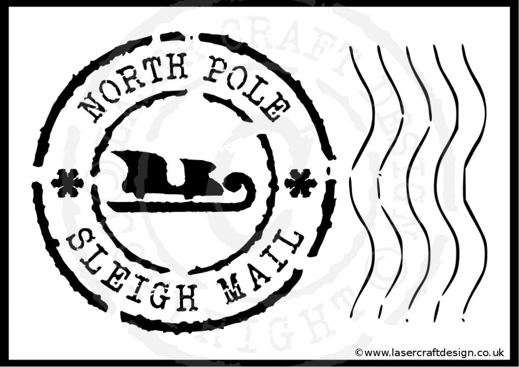 Christmas North Pole Sleigh Mail Stamp Stencil