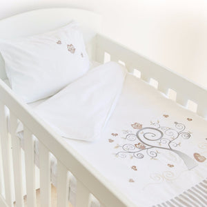 Baby Owl Egyptian Cotton Baby Duvet Cover Set - grey stripe side
