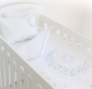 Starry Night Egyptian Cotton Cot Duvet Cover Set - blue side