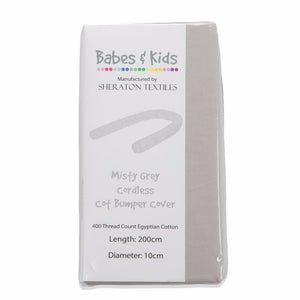Misty Grey Cordless Cot Bumper Cover in packaging