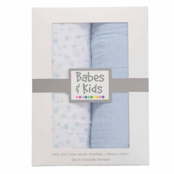 100% Cotton Muslin Cloth/Swaddle Blanket Gift Set (blue) - Babes & Kids Cot Baby Bedding