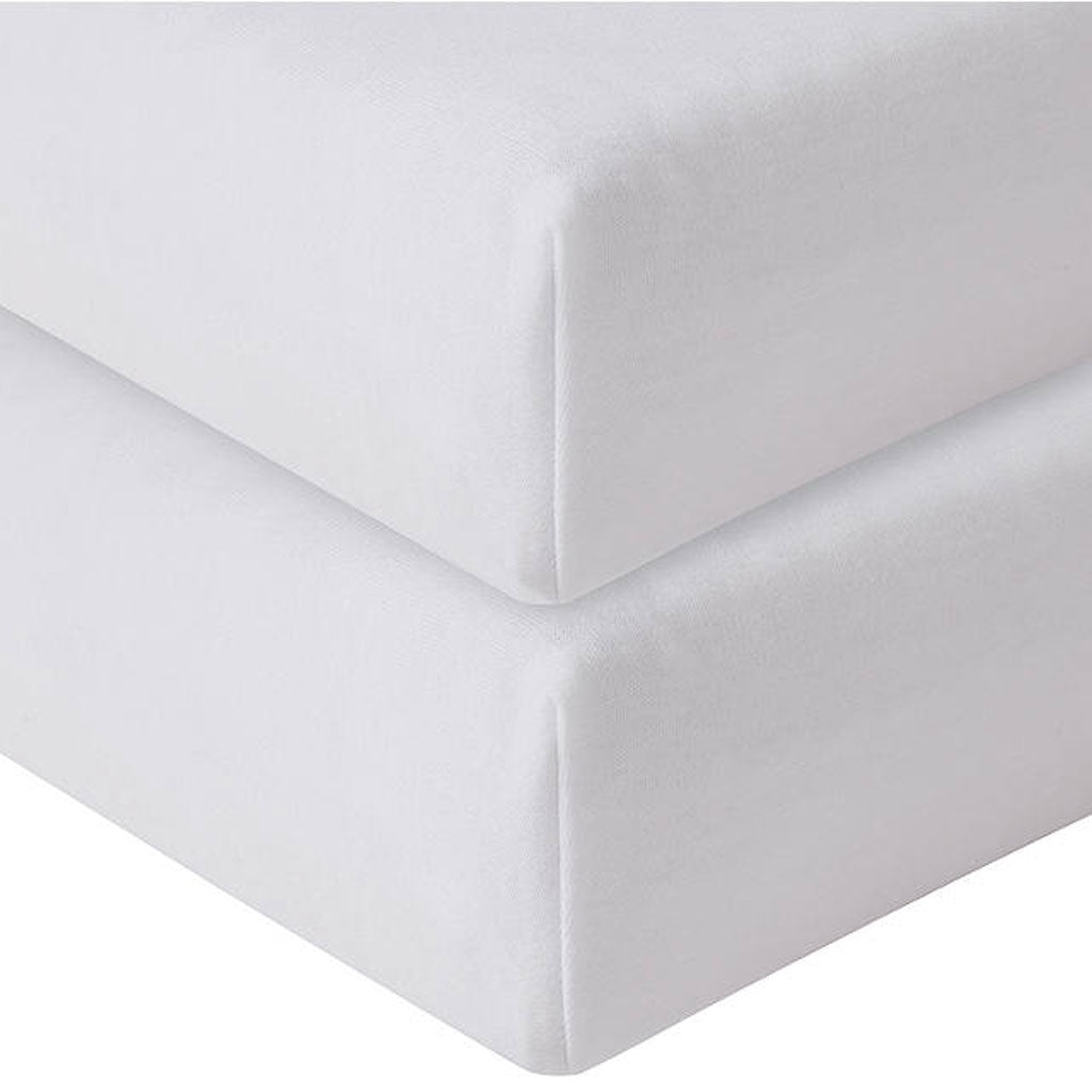 2 pack Egyptian Cotton Cot Fitted Sheet Set -  White - Babes & Kids Cot Baby Bedding
