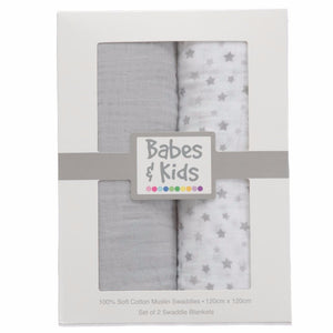 100% Cotton Muslin Cloth/Swaddle Blanket Gift Set (grey) - Babes & Kids Cot Baby Bedding