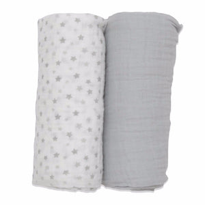 100% Cotton Muslin Cloth/Swaddle Blanket Gift Set (grey) out of box